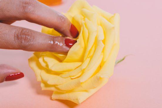 Eine schöne, gelbe Rose und ein paar klebrige Finger